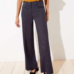 LOFT Navy Houndstooth High Waist Trouser Pants 6